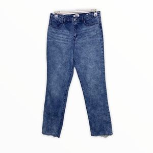 Delaluz High Rise Straight Cropped Jeans